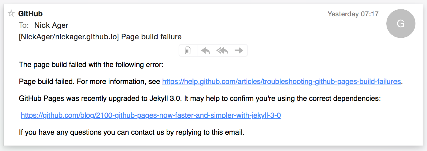 Configuring Jekyll | Nick Ager's blog